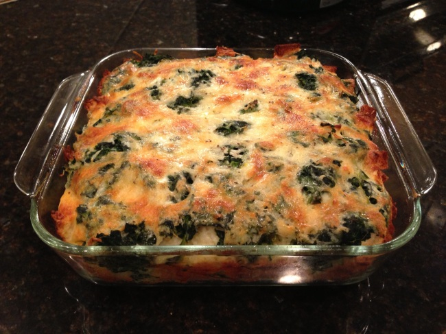 Spinach and WHite Cheddar Strata